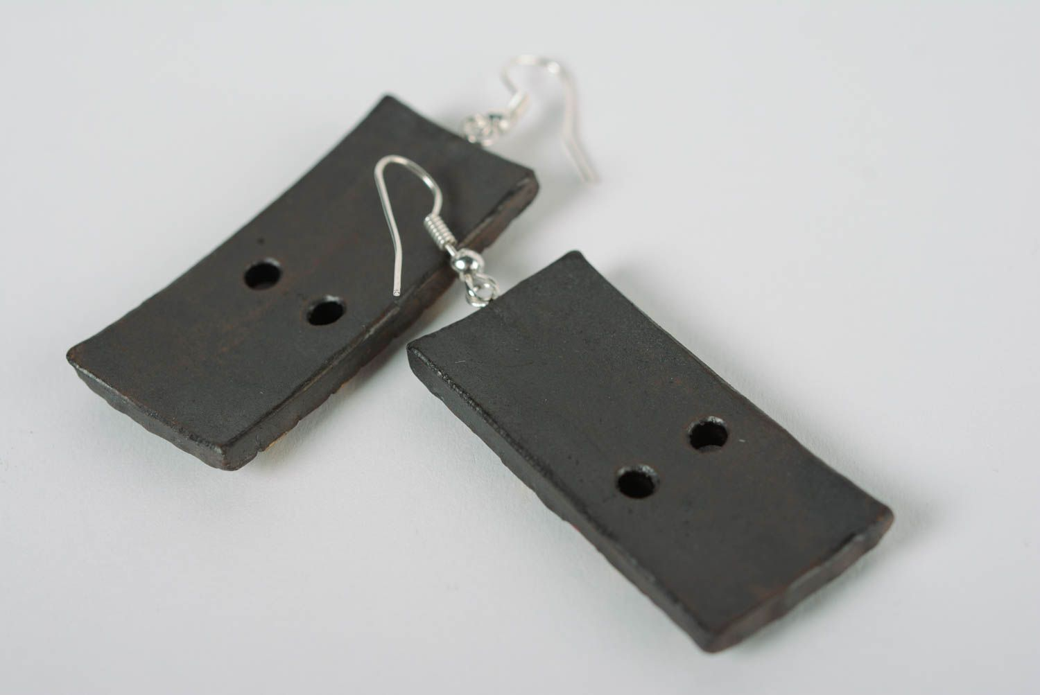 dangle earrings Clay handmade earrings with enamel painting rectangular bright jewelry - MADEheart.com