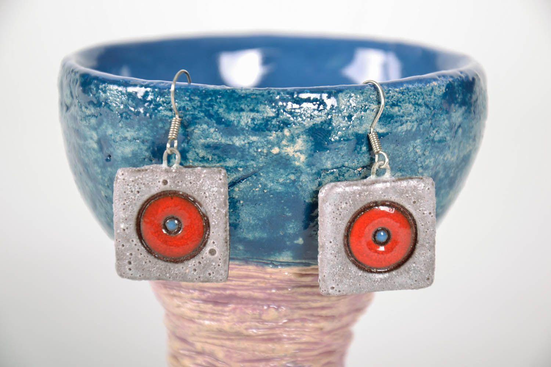 Square ceramic earrings photo 1