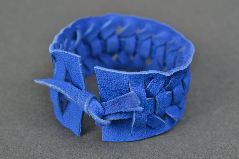 Blue woven genuine leather bracelet Electric  photo 4