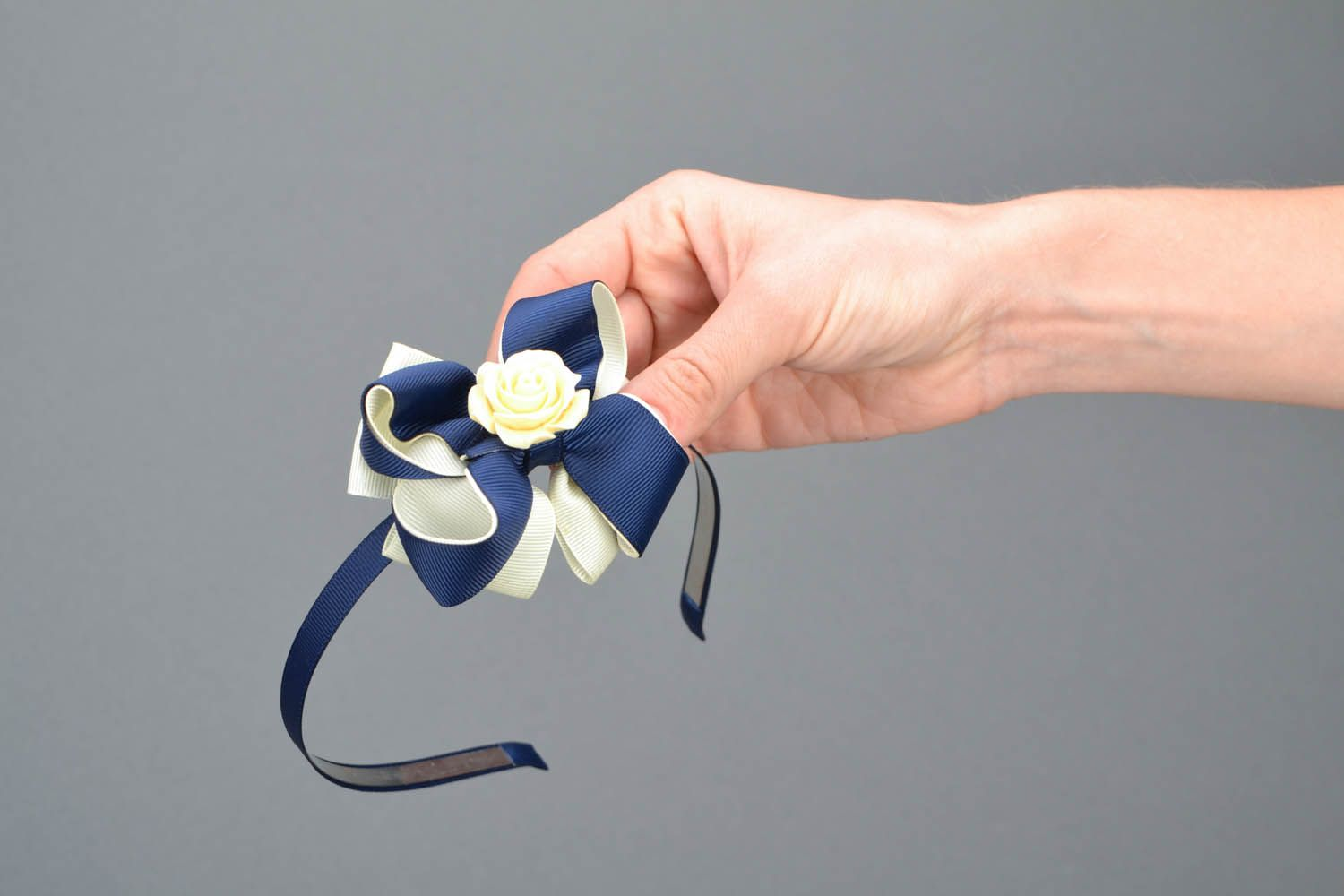 Headband with bow and flower photo 2