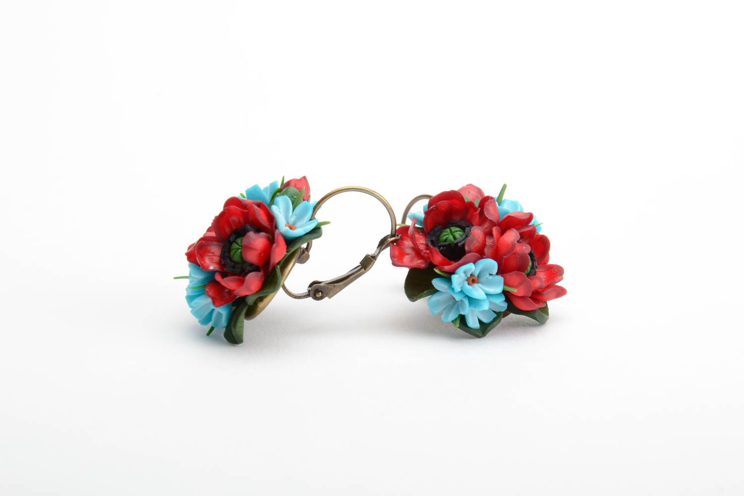 Handmade volume earrings with small red and blue polymer clay flower bouquets photo 4