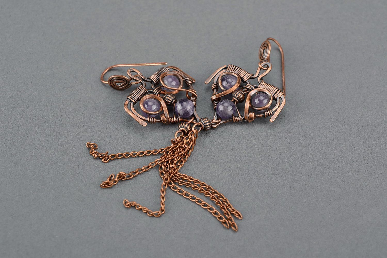 boucles d'oreilles wire wrap Boucles d'oreilles en cuivre avec améthyste - MADEheart.com