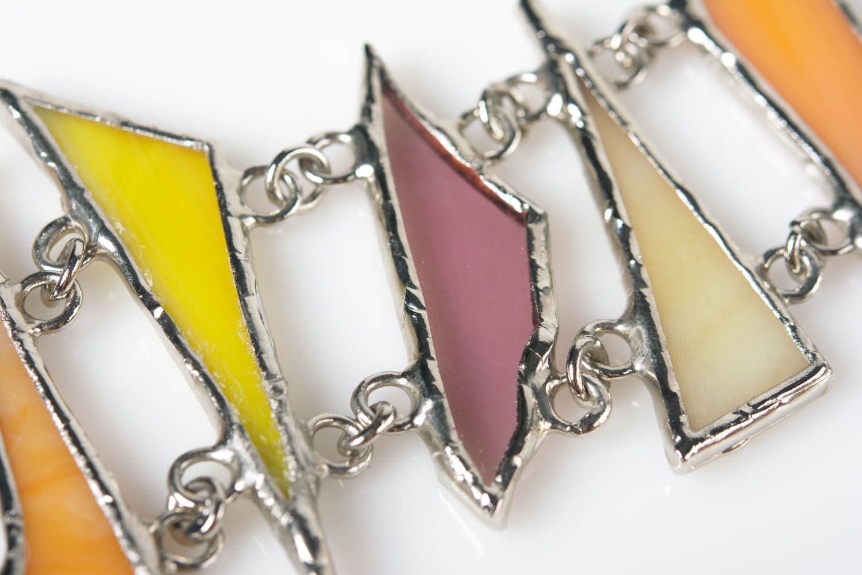 Handmade colorful glass and metal wrist bracelet designer for women photo 5