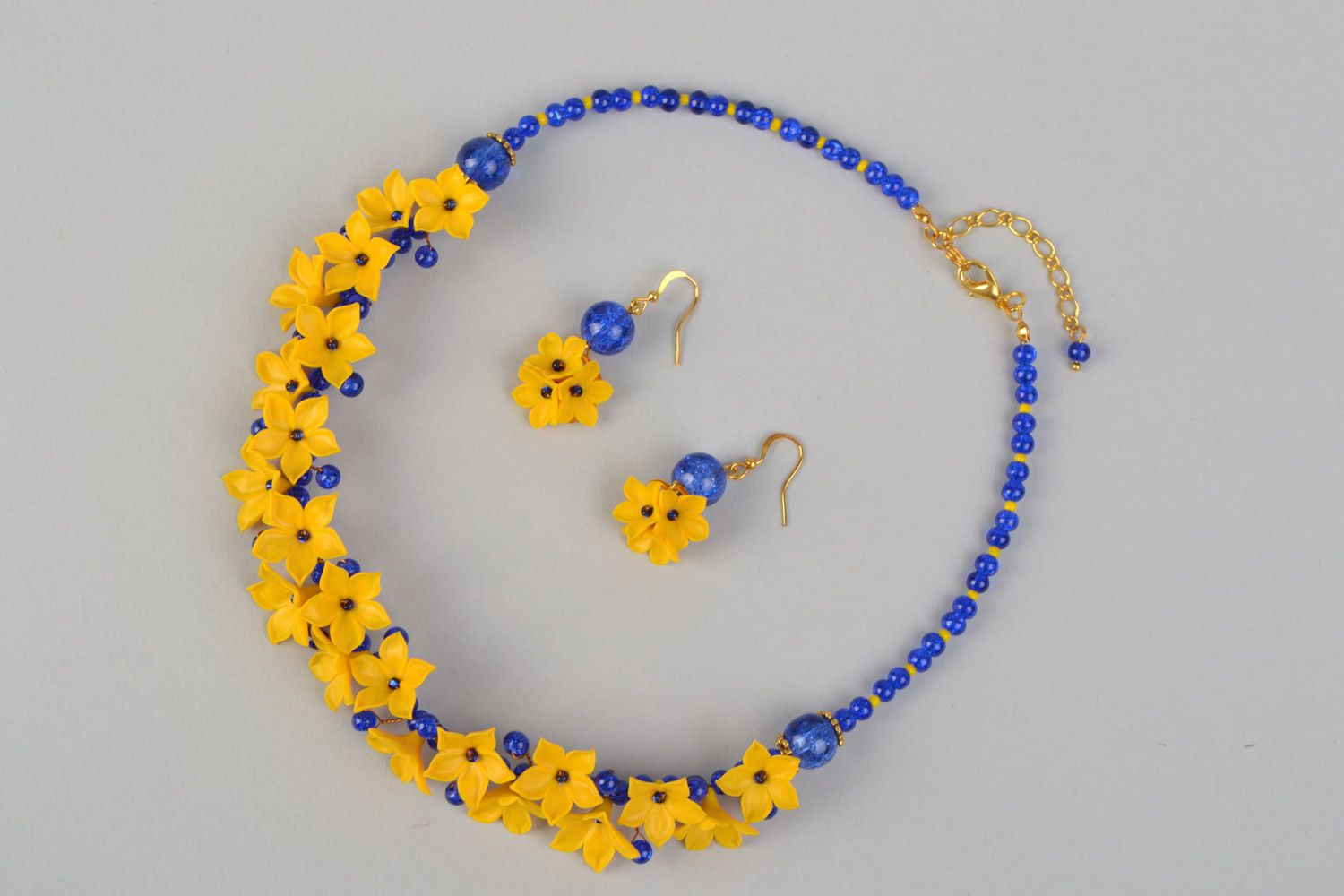 Polymer clay necklace and earrings set