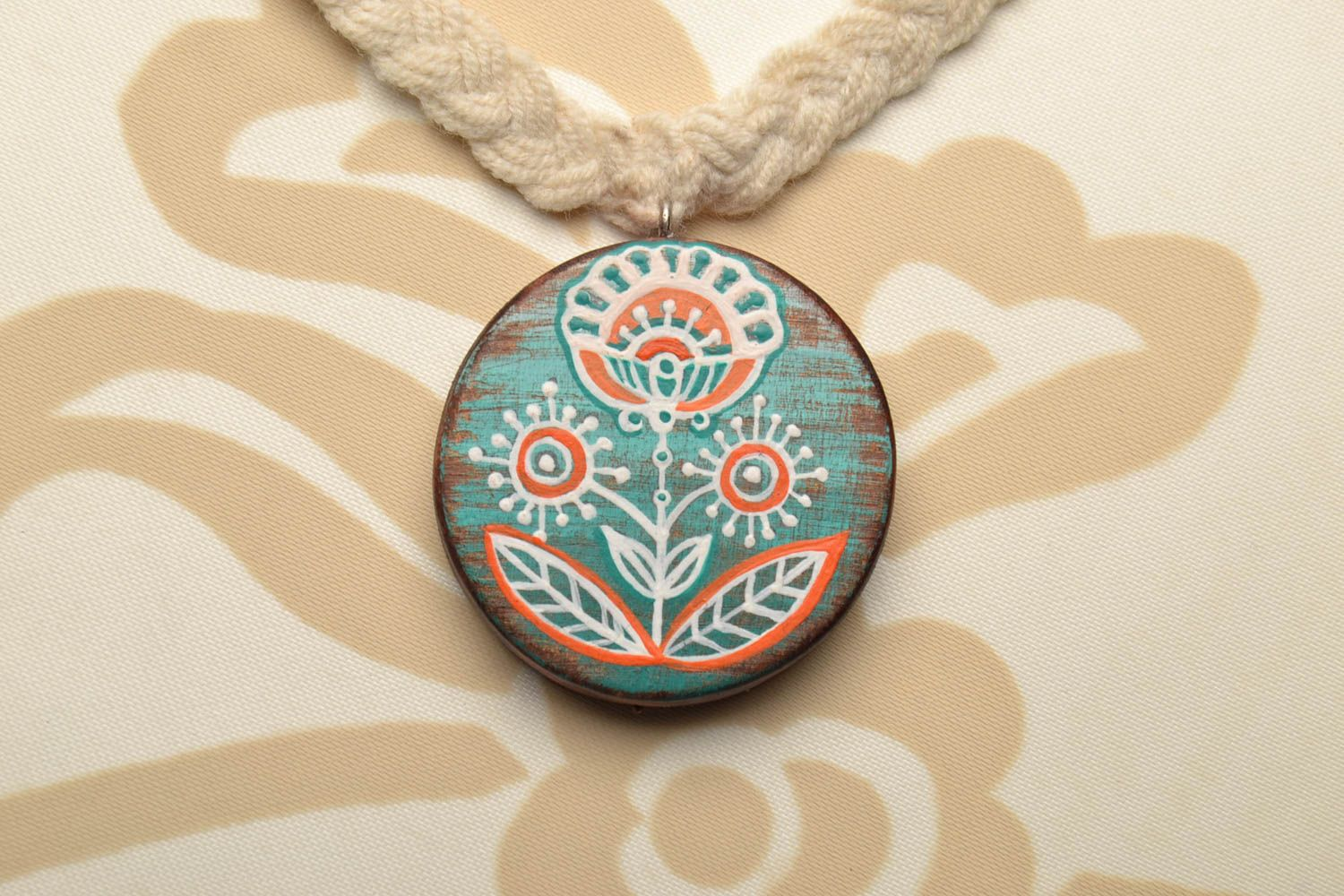 Wooden pendant Fern Blossom photo 1