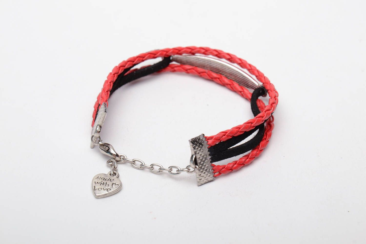 Genuine leather bracelet Red and Black photo 4