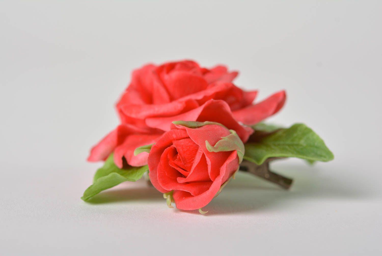 Beautiful handmade designer polymer clay flower brooch hair clip Red Rose photo 4