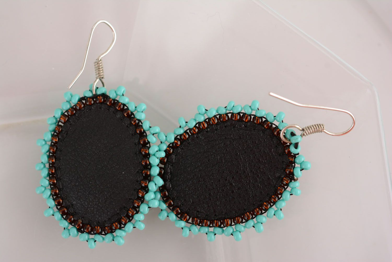 Earrings with charms Chocolate and Turquoise photo 3