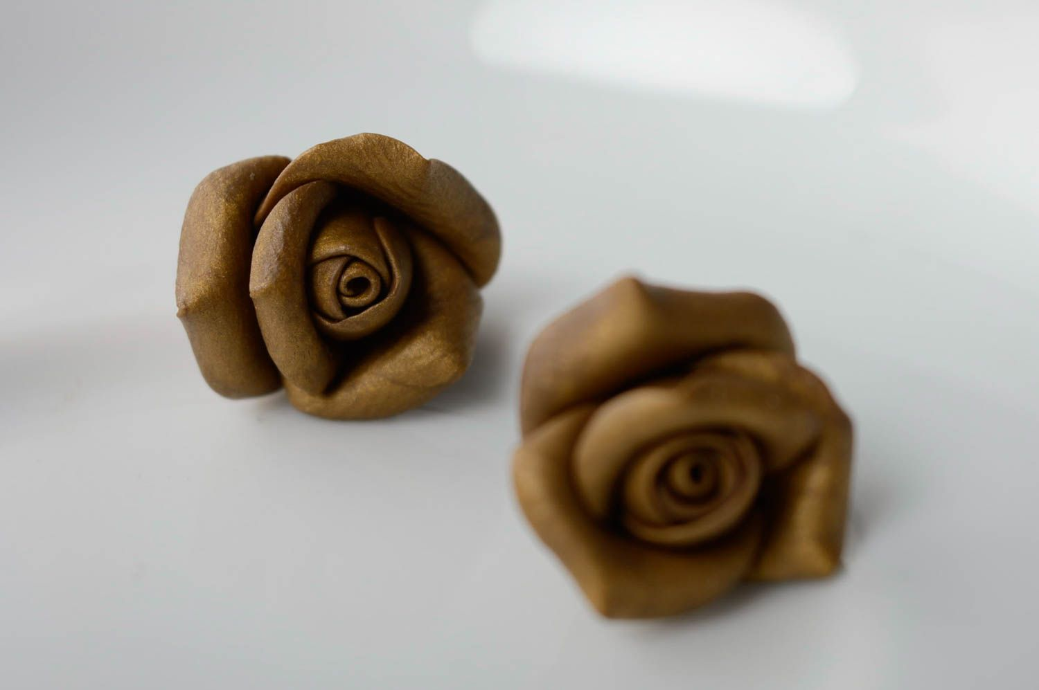 Unusual polymer clay earrings Roses photo 3