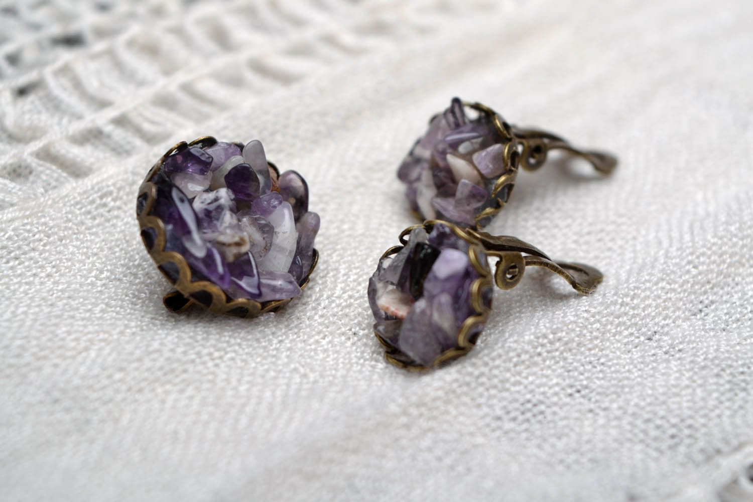 Jewelry set made of natural stone photo 1