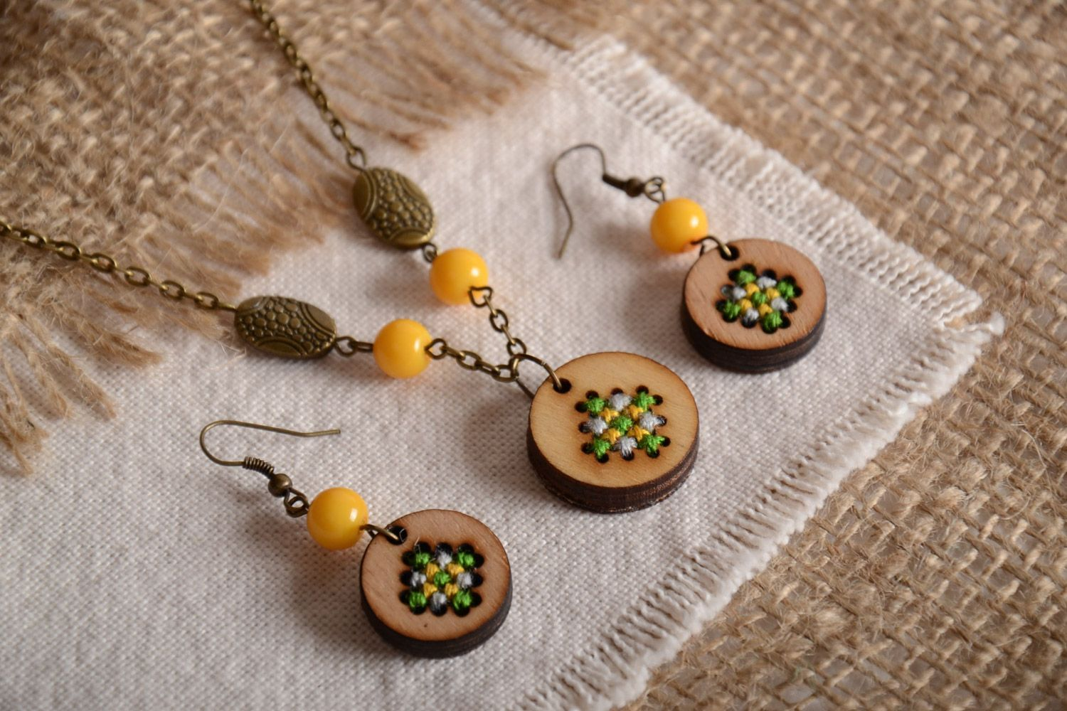 Handmade plywood jewellery round earrings and pendant with embroidery in ethnic style photo 1