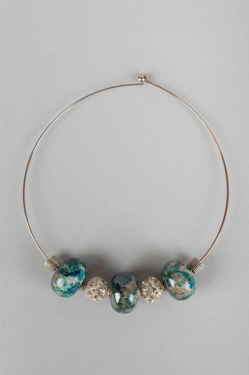 choker Beautiful homemade designer brass necklace with porcelain beads and strasses - MADEheart.com