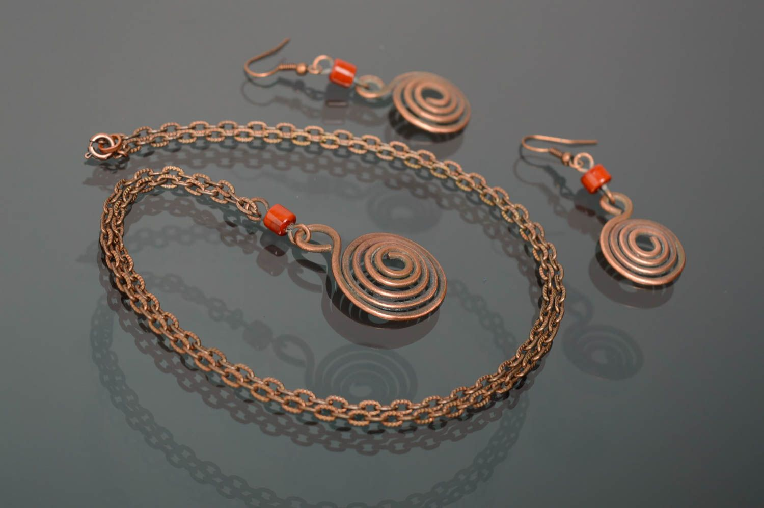 Wire wrap copper jewelry set of earrings and pendant Dunes photo 2