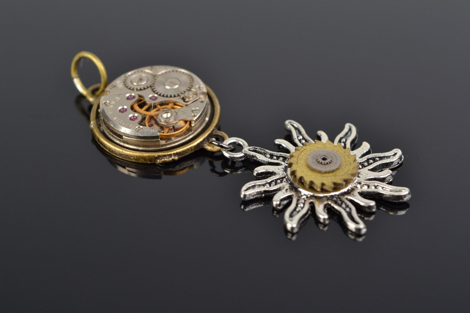 Handmade metal pendant with clock mechanism in steampunk style Sun and Time photo 1