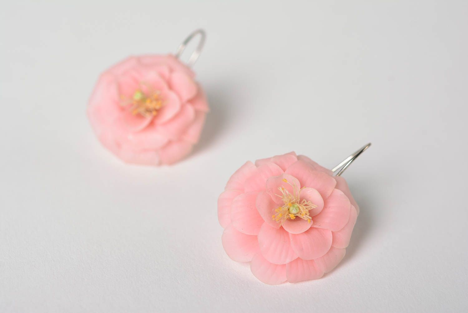 Beautiful handmade molded polymer clay flower earrings pink designer photo 2