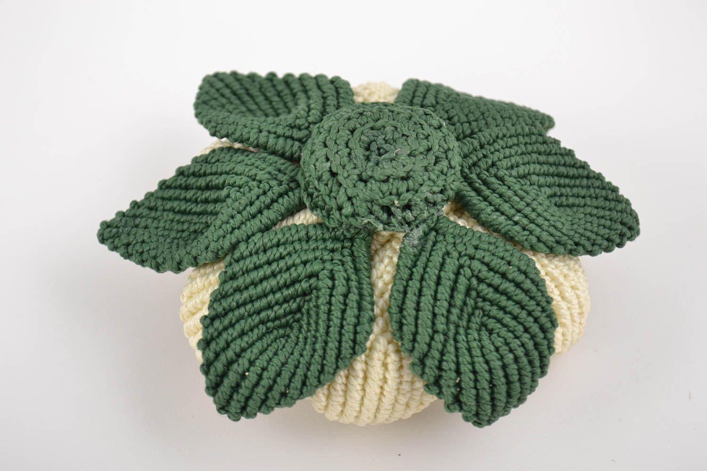 Handmade decorative artificial lotus flower woven using macrame technique photo 3