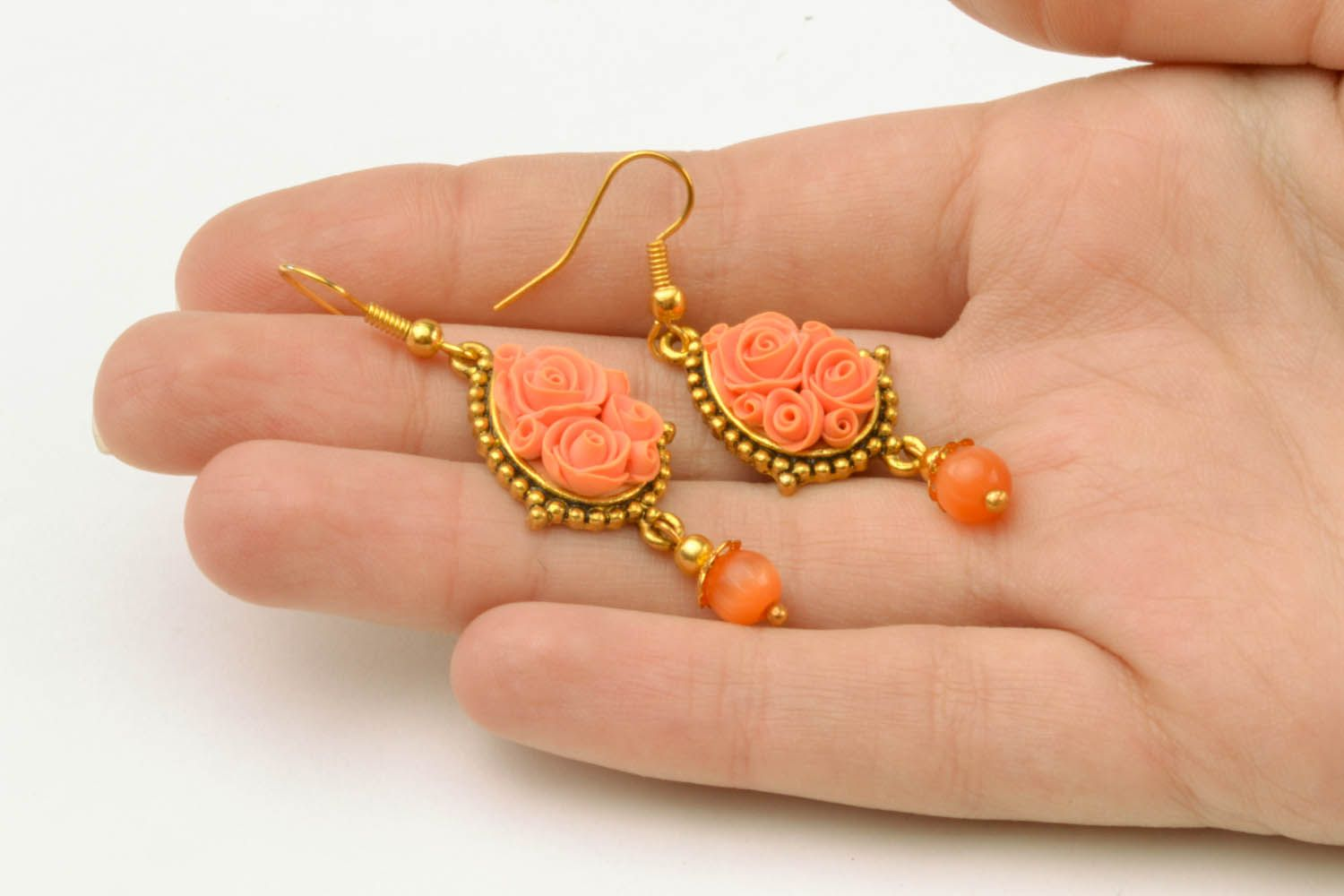 Polymer clay floral earrings  photo 5