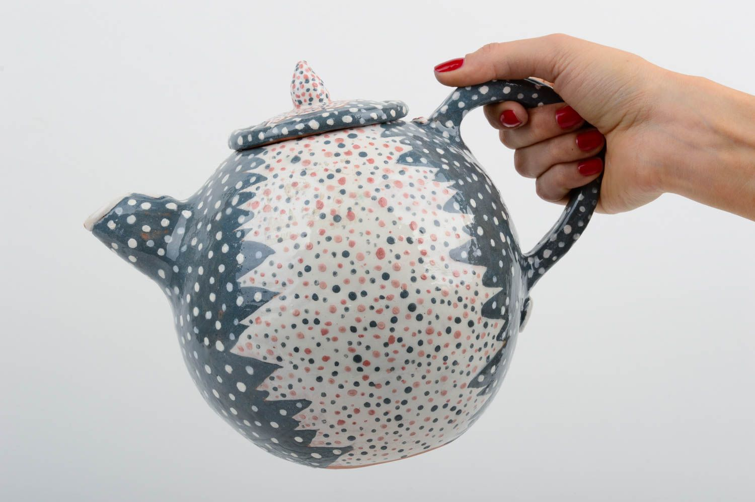 Handmade ceramic ware stylish clay teapot unusual kitchenware art pottery photo 2