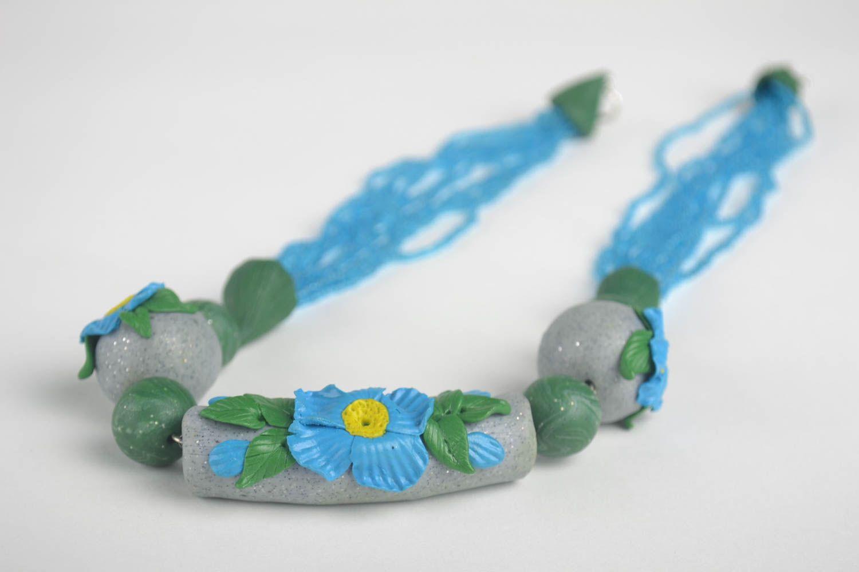 Stylish handmade bijouterie designer polymer clay necklace unique present photo 3