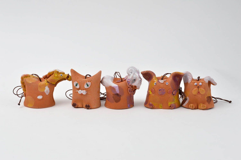 Designer handmade bells clay 5 beautiful animals unusual designer home decor photo 2