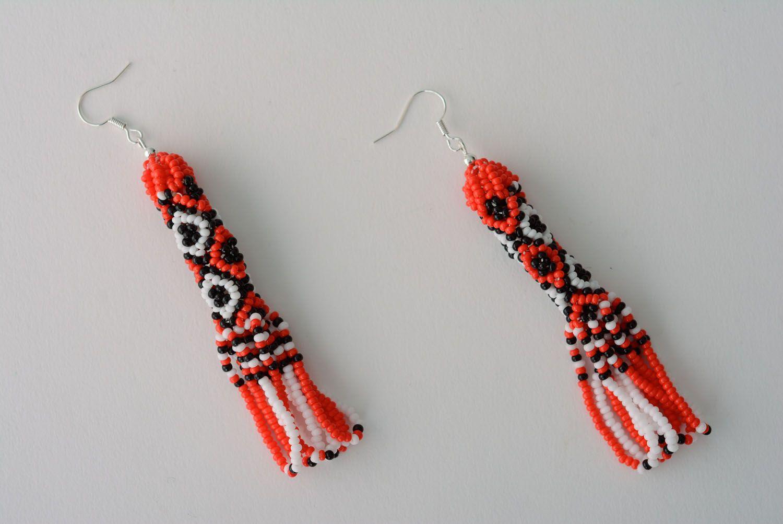Длинные бисерные серьги в этно-стиле фото 1