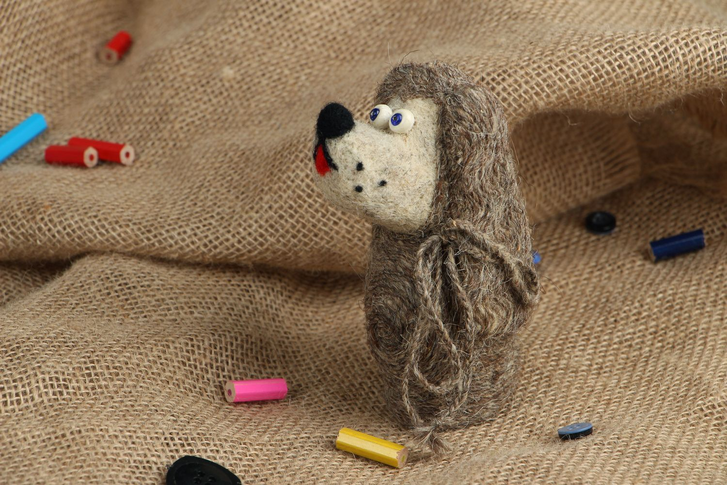 Toy made of felted wool Lady photo 5