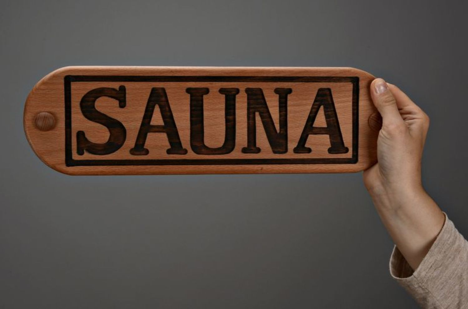 Wooden nameplate for sauna photo 2