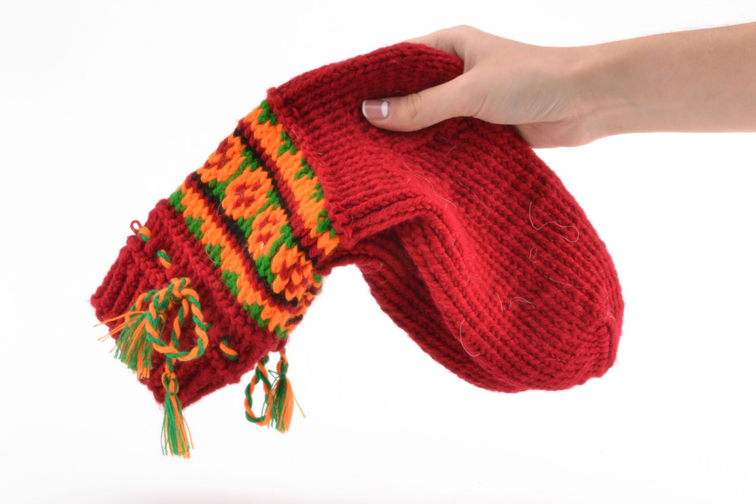 Woolen knitted socks Red photo 5