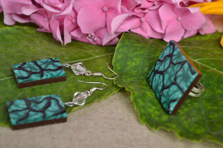 Schmuck Set handmade Modeschmuck Ohrringe Ring Damen Mode Accessoires in Grün foto 1