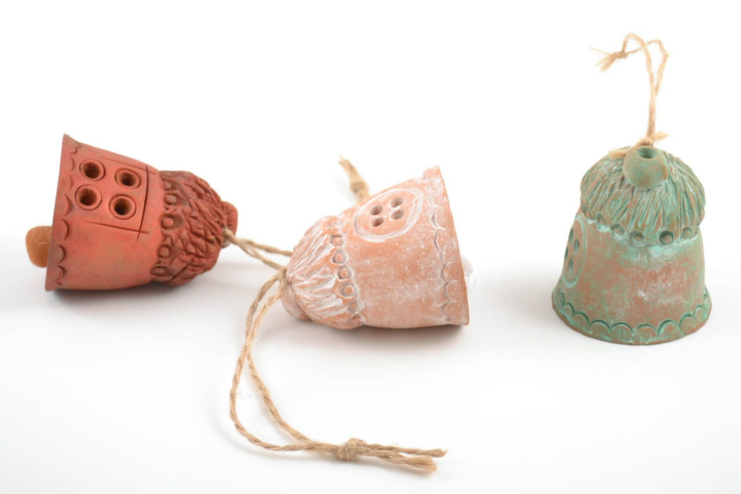 Set of 3 handmade decorative ceramic bells Houses of different colors with cords photo 3