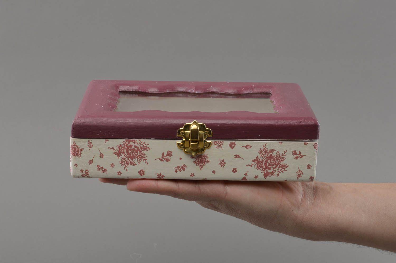 Madeheart Caja De Madera Hecha A Mano Con Tapa De Cristal  ~ Cajas De Madera Con Tapa De Cristal