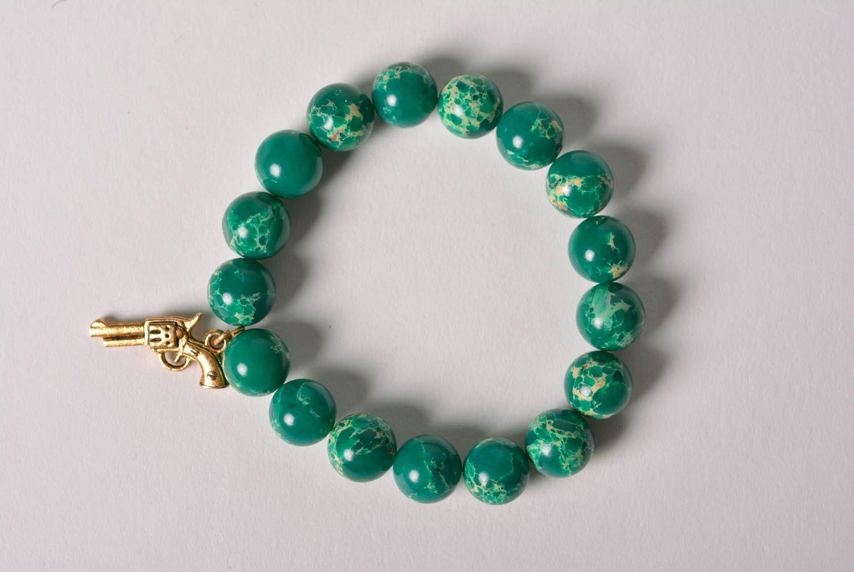 Handmade designer wrist bracelet with green pressed variscite beads for women photo 3