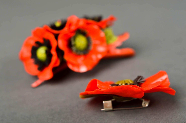 Украшения ручной работы набор аксессуаров заколка с цветком и женская брошь фото 4