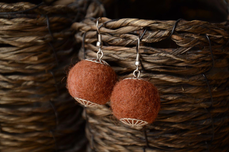 Brown wet felted wool earrings photo 1