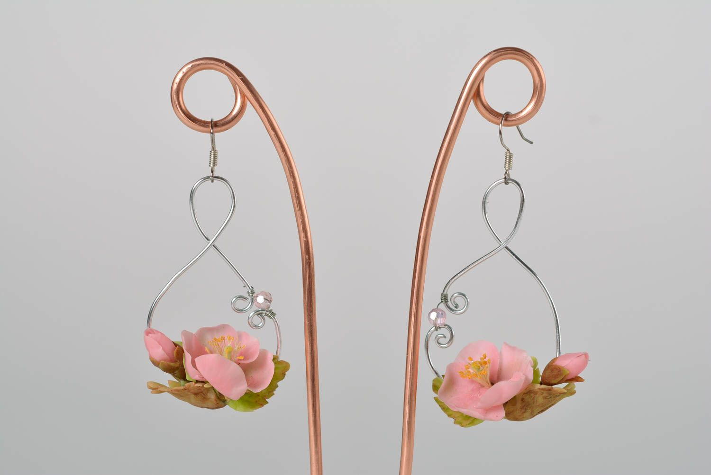 Nice pink women's handmade polymer clay flower earrings designer jewelry photo 1