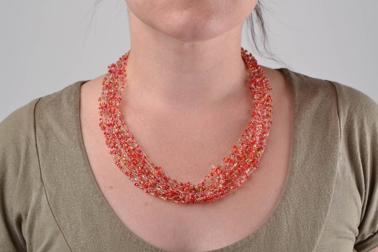 Red beaded necklace handmade designer seed beads jewelry womens accessory photo 1