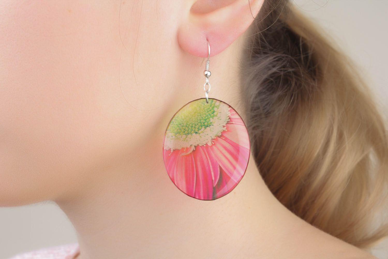 Homemade earrings Fragment of the Flower photo 1