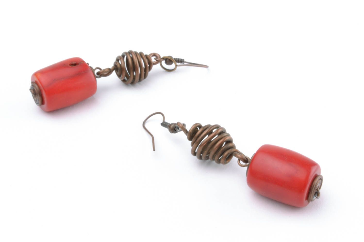 Copper earrings with coral stones photo 4