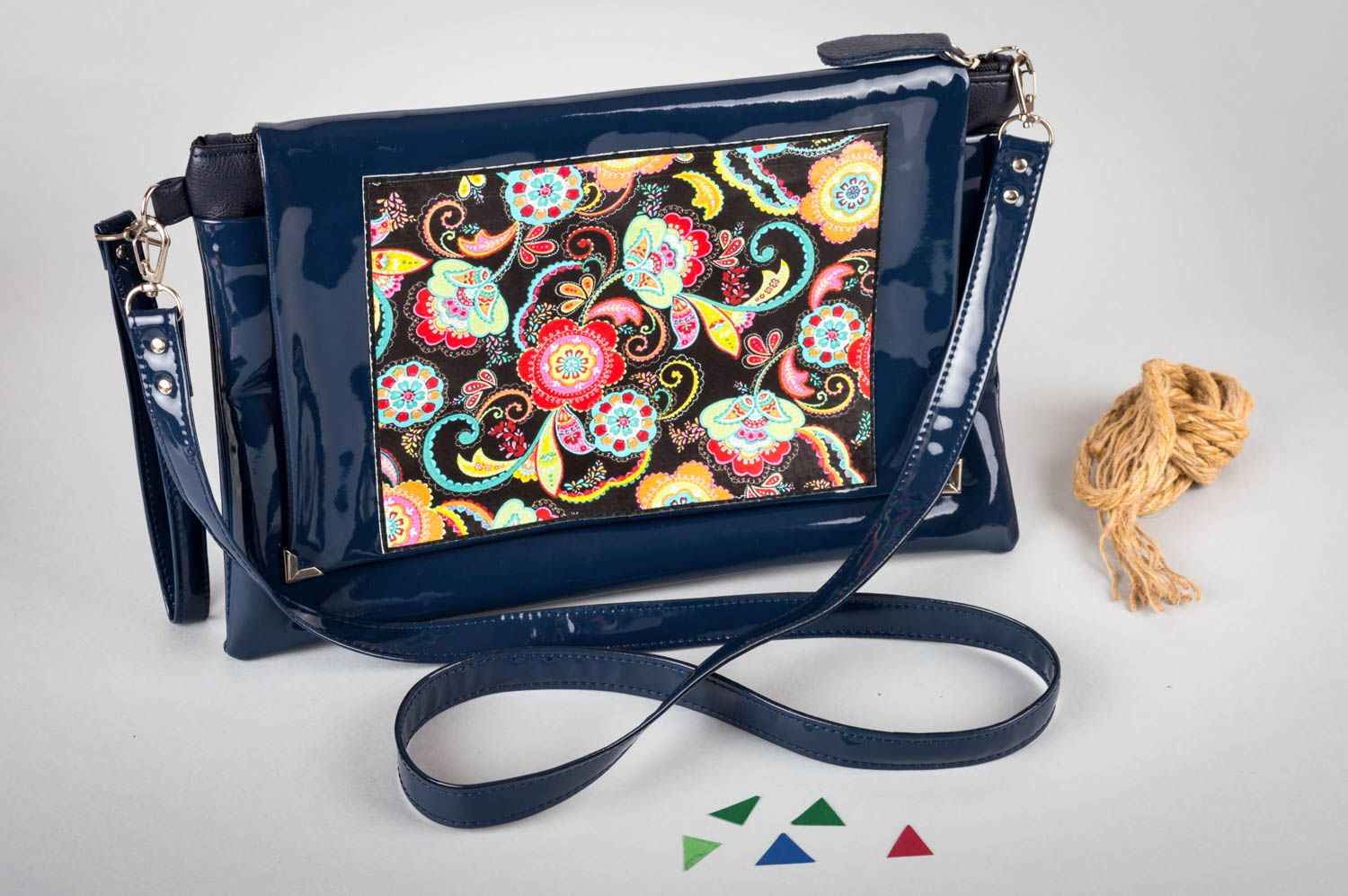 Bag made of artificial leather handmade lacquered clutch colorful accessories photo 2