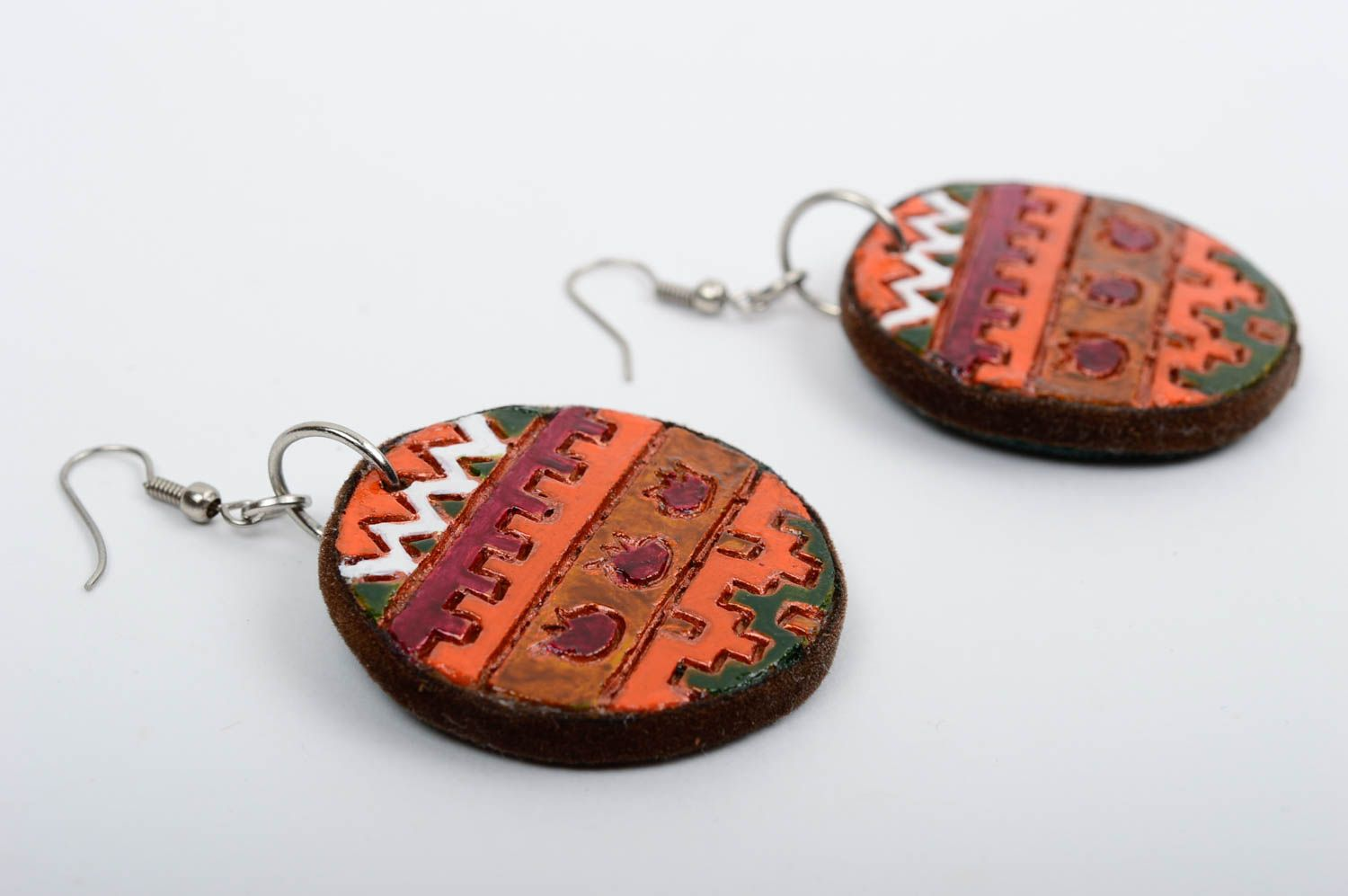 Beautiful handmade ceramic earrings painted clay earrings cool jewelry photo 2