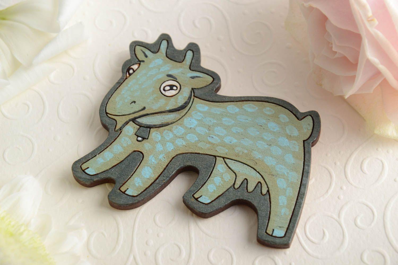 Bright handmade designer painted wooden fridge magnet for kids Goat photo 1