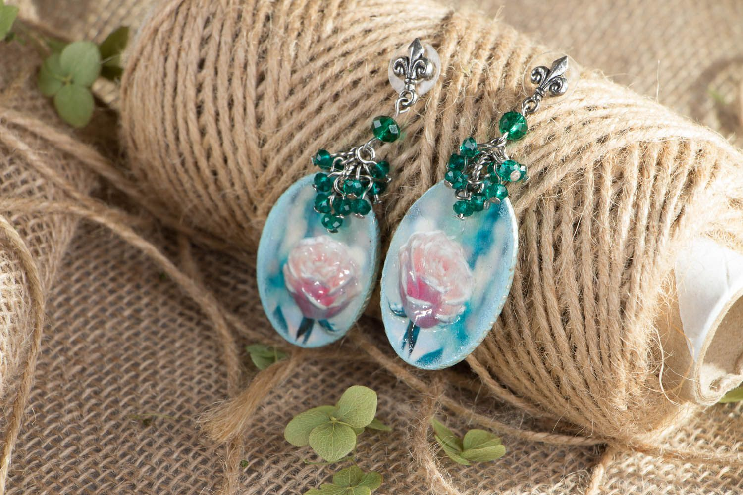 Polymer clay earrings Winter Rose photo 4