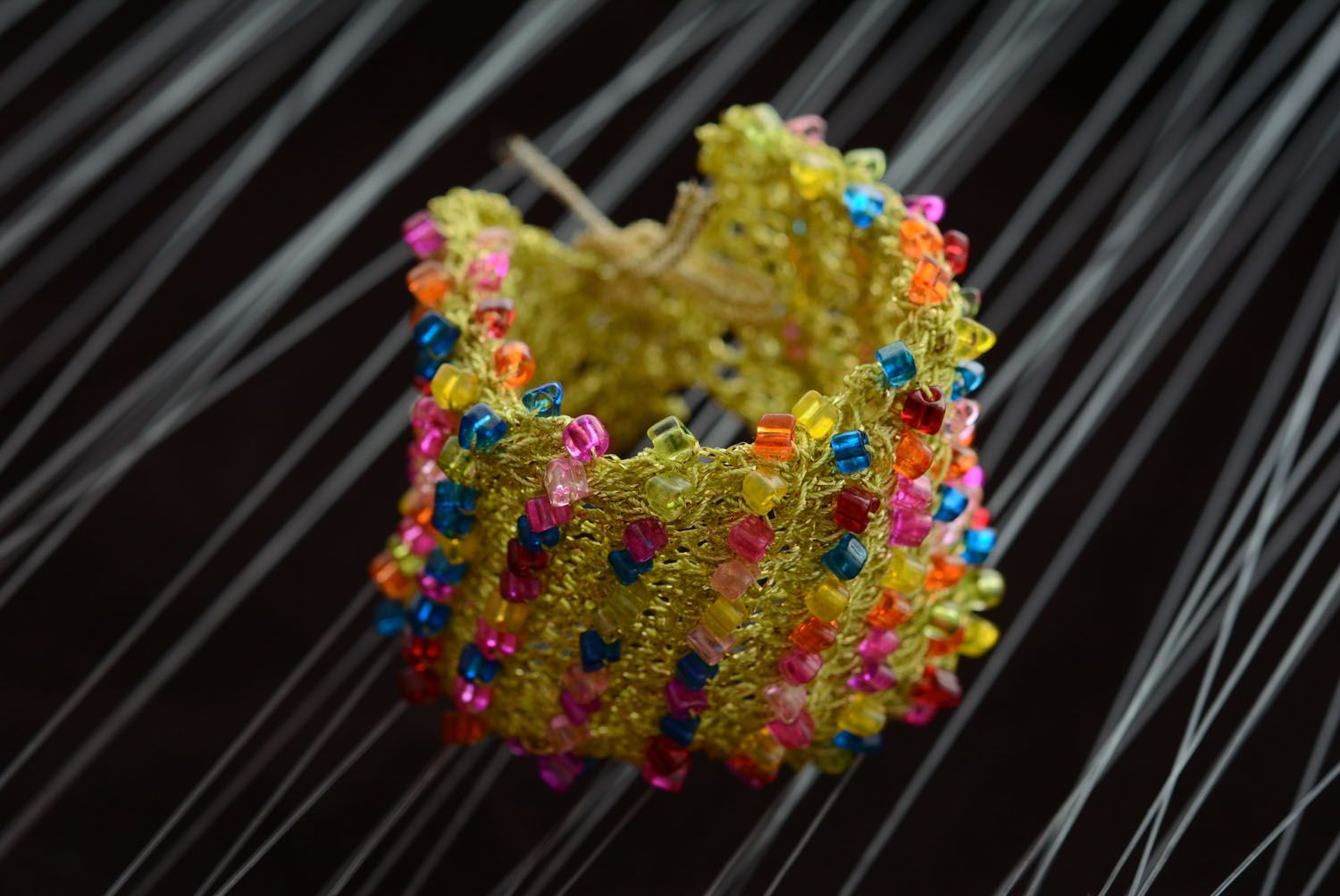 Wide bracelet with beads photo 3