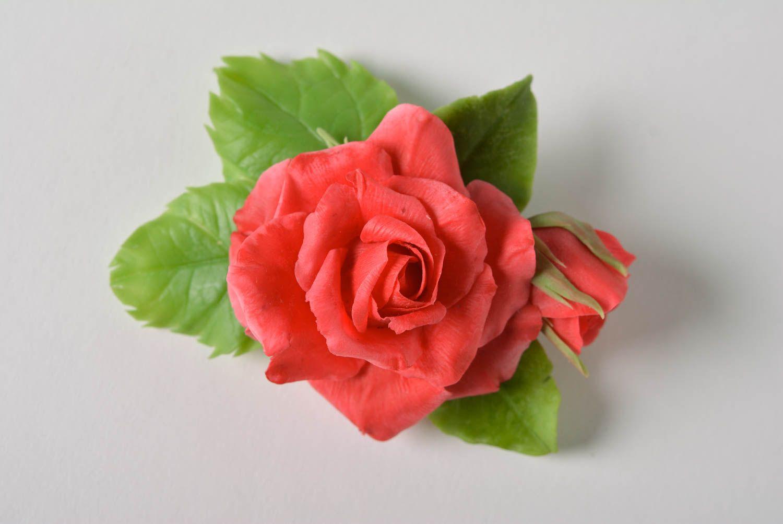 Beautiful handmade designer polymer clay flower brooch hair clip Red Rose photo 5