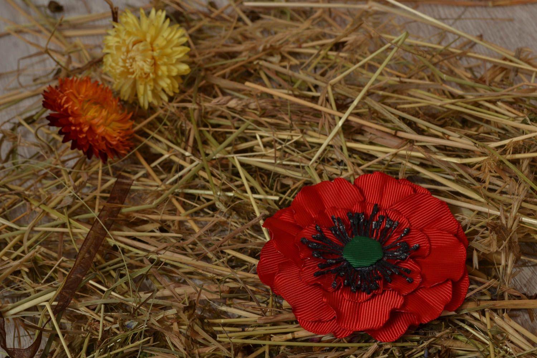 Ribbon flower for hair clip Poppy photo 5