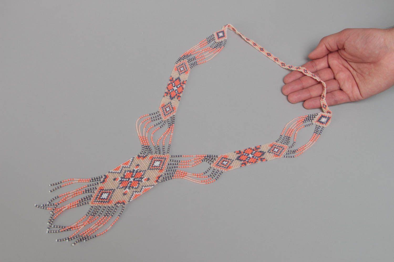 Beautiful pink handmade designer beaded gerdan necklace woven of Czech beads photo 5