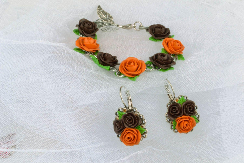 Polymer clay jewelry set photo 1