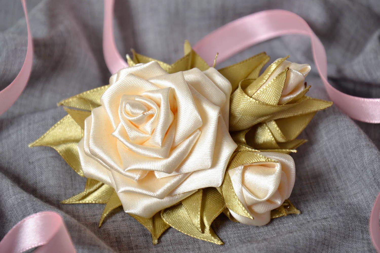 Satin handmade brooch Roses photo 1