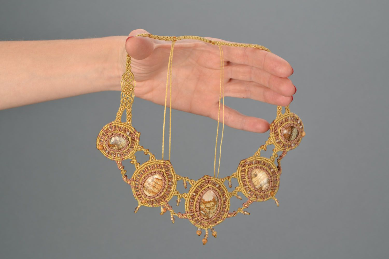 Massive woven necklace with jasper photo 2