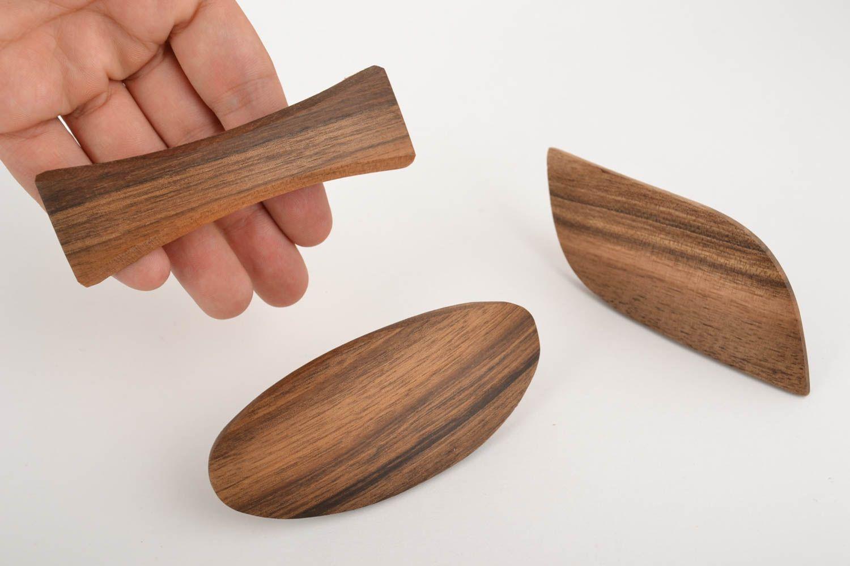 madeheart barrettes cheveux en bois 3 pi ces accessoires originaux pratiques faits main. Black Bedroom Furniture Sets. Home Design Ideas